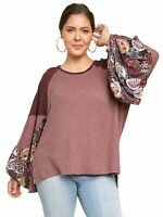 Wine Waffle Knit Top with Floral Print Puff Sleeves