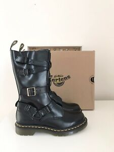 Dr Martens Blake Tall Black Buckle Leather Boots Brand New In Box