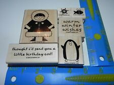 Stampin Up Polar Pals Stamp Set of 6 Eskimo Penguin Warm Winter Wishes Birthday