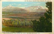 Linen Postcard CO H683 Cancel 1944 Spanish Peaks Walsenburg La Veta Pueblo NP