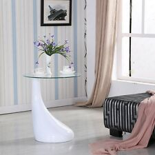 Modern White Lamp Shape Coffee Table Side End Table with Clear Glass Living Room