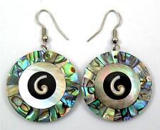 IRIDESCENT PAUA ABALONE AND SHIVA EYE earrings ;GA142