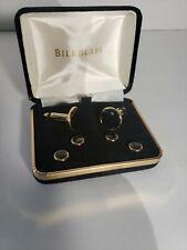 Bill Blass Cufflinks & Studs, Round, Gold-Tone with Onyx Centers,