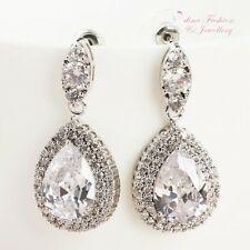 18K White Gold Plated Simulated Diamond Large Sparkling Teardrop Bridal Earrings
