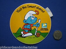 National Petrol - Visit the Smurf District  Car Sticker   c1980
