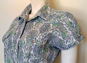 ROPER sz Large Blue & Green Paisley Pearl Snap Detail Sh/Sl Blouse Shirt Tail