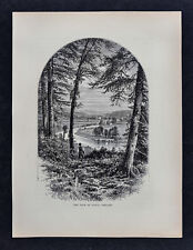 1878 Picturesque Europe Print View of the Vale of Avoca Ireland Landscape