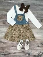 Girls, Toddler Cheetah Denim Tie Overall Dress Boutique Set, 2T 3T 4T 5 6 7 8