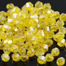 Yellow AB 100pcs exquisite 4MM 5301#glitter Crystals luster delicateness Bicone*