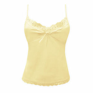 Ladies Womens Cotton Cami Top Broderie Anglaise Trim Vest - Mellow Yellow