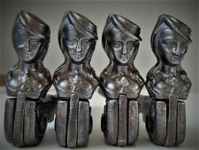 Lot of 4 Antique Shutter Dogs French Girl Woman Hat Iron CAMION FRERES Art Deco