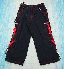 TRIPP NYC Mens Black Red Baggy Pants XL Goth Punk Rave Skulls Chain Zippers