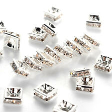 100 Brass Pave Rhinestone Metal Beads Square Silver Loose Spacer Nickel Free 5mm
