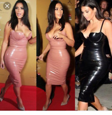 Women Midi PVC Dress Vinyl Bodycon Sexy Spaghetti Strap Party Kim Kardashian