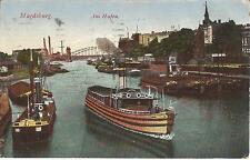 Magdeburg, Schiffe, Dampfer am Hafen, alte Ansichtskarte von 1917