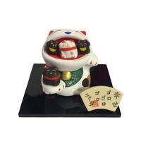 Familia Gato Japonés Blanco 6cm Maneki Neko Cerámica Fabricado en Japón 40574