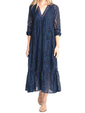 Johnny Was VERA Midi Dress Navy Blue Embroidered Silk Cotton Size M NWT $495
