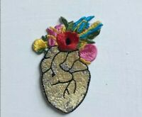 Heart with flower badge clothes Embroidered Iron on Sew on Patch