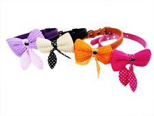 Small Pet Dog Cat Puppy Collars Cute Bowknot Leather Cat Dog Collars Sizes S M