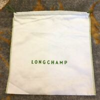 New LONGCHAMP Protective Dust Bag Dustbag Cover White Green Drawstring 20x19 XL