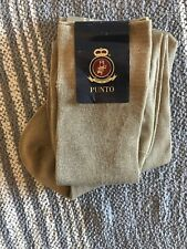 New PUNTO Made In Italy Mens Dress Socks Neutral Tan XL 13-14 100% Cotton
