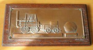 copper commemorative plaque Darlington & Stockton Railway No. 1 Engine Bulmers