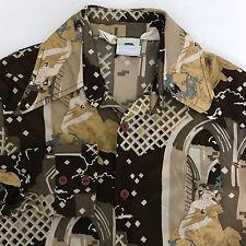 VTG 70's Kennington Hippie Style Casual Dress Shirt Men's Small Brown Butterfly