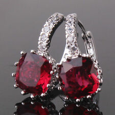 18CT Earrings FREE GIFT BAG Ruby Red, White Gold filled Birthday Gift for Women