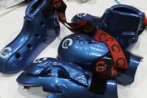 MARTIAL ARTS SMA KIDS SPARING GEAR - INC KICK BOOTS, FULL WRIST GLOVES BLUE