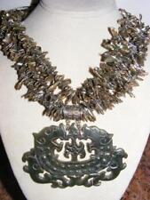 STATEMENT PENDANT NECKLACE 3 Strands ABALONE SHELLS Sterling Carved Jade Dragons