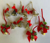 11 Vintage Christmas Picks/Decor ~ Plastic Bells & Ribbons & Bells with Holly ~