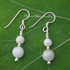 Drop Earrings 13.9CTW White Jadeite  925 Sterling Sterling Silver 6mm, 8mm round