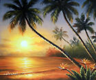 Hawaii Beach Sunset Palms Bird Of Paradise Flowers Stretched 20X24 Oil Painting