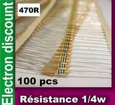 Résistance 1/4w  470 ohms 470R  lot de 100