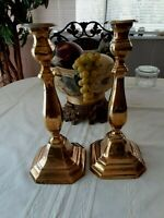 """Set of 2 Heavy Square Base 12"""" Solid Brass Candle Sticks"""