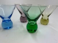 Vintage 4 Mid Century Martini Glasses Bubble COLOR Ball Base Stem Cosmo Cocktail