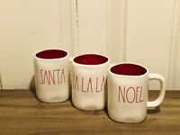 Rae Dunn Christmas By Magenta SANTA FA LA LA NOEL Red Large Letter Mug, Set of 3