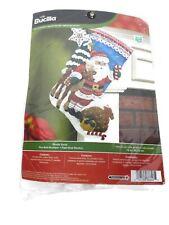 "Plaid Bucilla Christmas Felt Stocking Kit Nordic Santa 18"" Kit: 86647 -Brand New"