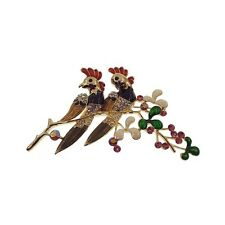 """Birds on the Three Brooch Pin Multicolor Crystals Gold Tone Enamel Jewelry 3.35"""""""
