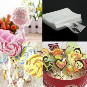 100X Clear Christmas Cellophane Biscuit Sweets Cookies Lollipops Cake Bags ja