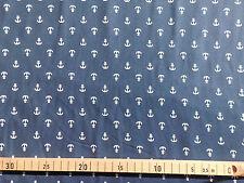 Stoff Jersey Meterware Baumwolle Sommer Anker maritim blau marine weiß 0,25m