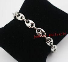 Silver Stainless Steel Fashion Link Chain Bracelet Men Women Jewerly 10mm 8.5''