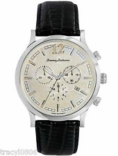 NEW Tommy Bahama Steel Drum Chronograph Black Leather Men's Watch TB1239 $475