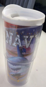 Tervis 24 oz TRAVEL MUG US Navy Military Shark Anchors Aweigh Guy Harvey w/ Lid
