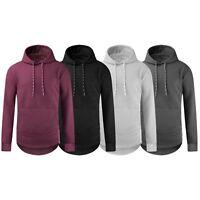 Men Long Line Hooded Long Sleeve Quilted Shirt Pocket Side Zipper S-2XL