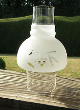 "Etched Hooded Glass Oil Lamp Chimney 77mm Approx 3"" fitter - Mushroom Shaped"