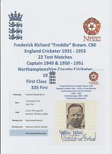 FREDDIE BROWN ENGLAND CRICKETER 22 X TEST 1931-53 RARE ORIG HAND SIGNED CUTTING