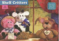*Pig, Cow & Bear Shelf Critters crochet PATTERN INSTRUCTIONS