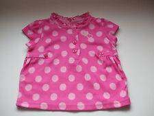 NEWBORN BABY GIRL SUMMER T SHIRT PINK WITH SPOTS -  WEIGHT UPTO 9LBS - BRAND NEW
