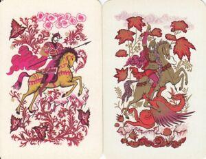 GENUINE SWAP PLAYING CARD - 2 SINGLE HORSE & RIDERS - #20